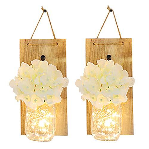 Cozyhoma Set von 2 rustikalen Mason Jar Lichterketten zum Aufhängen von Mason Jar Lights Home Decor Seide Hortensien LED Streifen Lichterkette mit Vintage Schmiedeeisen Haken