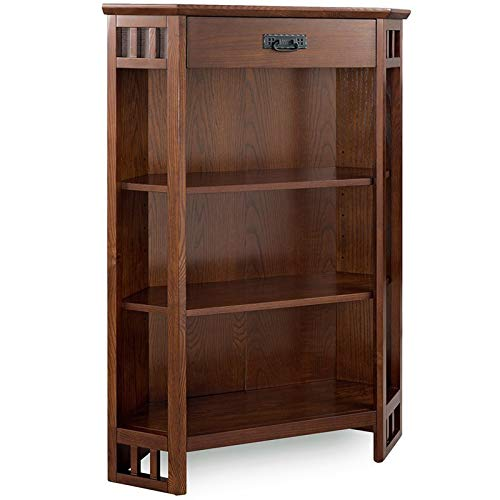 Leick Riley Holliday 3 Shelf Corner Bookcase in Mission Oak