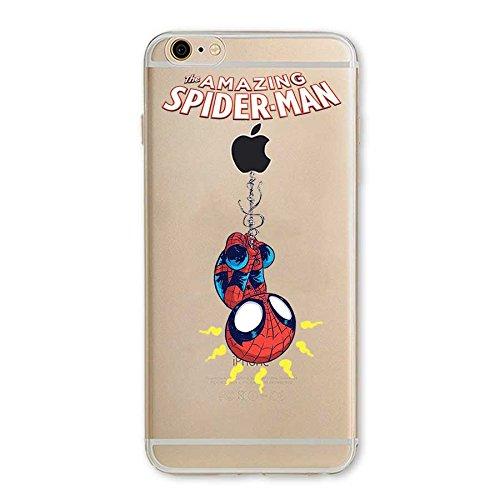 TPU Funda Gel Transparente Carcasa Case Bumper de Impactos y Anti-Arañazos Espalda Cover, Hero Colección Collection, Spider Man, iPhone 6 6S
