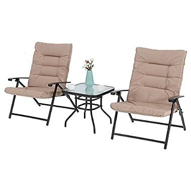 PHI VILLA Patio 3 PC Padded Folding Chair Set Adjustable Reclining Indoor Outdoor Furniture, Khaki