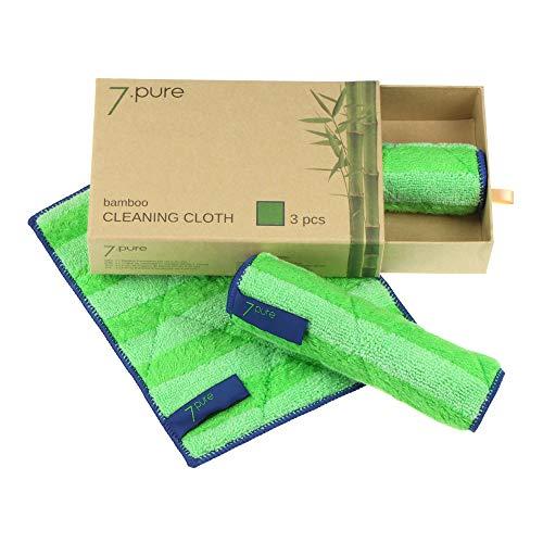 7.pure Bayetas de bambú 3 Unidades | 20 x 25 cm | Limpieza sin limpiadores – sin Pelusas | Limpieza sin Esfuerzo | Bayeta, Trapo de Limpieza, Gamuza