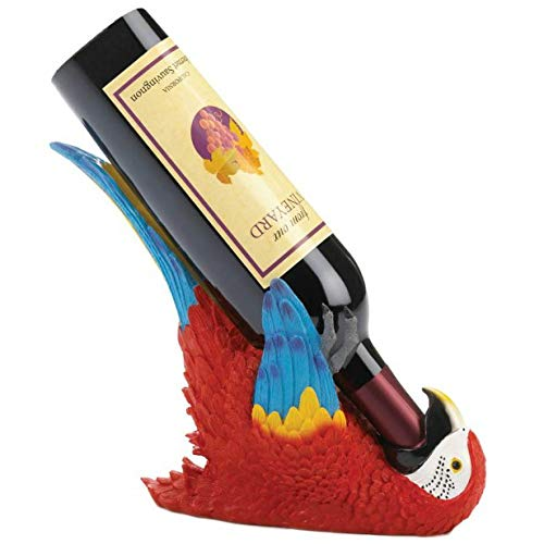 Accent Plus 10018747 Colorful Parrot Wine Holder, White