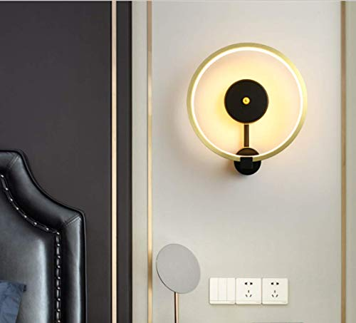 Modern LED lámpara de pared dorado Redondo Minimalismo Arte planchar Lámpara de noche Pared de TV salón Cuarto Comedor Estudio Corredor Iluminación de pared Pantalla de acrílico 12W luz cálida