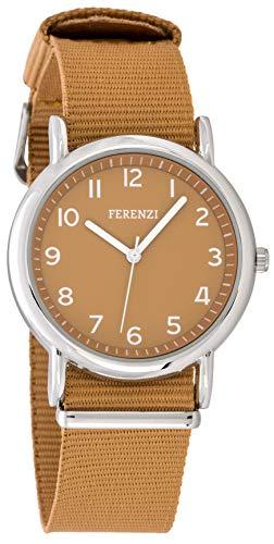 FERENZI Unisex Uhr | Digital Quarz Gut Lesbare Uhr 38mm Gehäuse Ton in Ton mit Gewebe Armband Braun | FZ20102