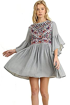 Umgee BoHo Bliss! Mandy and Ally Embroirdered Bell Sleeve Dress, Cool Grey, Large
