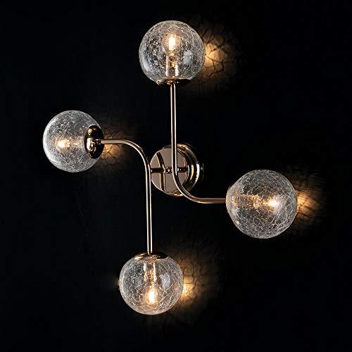 Deckenleuchte Modern Eisen lackiert Gold glänzend und Glas Crackle Ikarus 4 Lichter