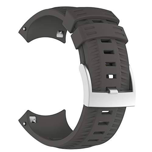 XIHAMA Strap for Suunto 9,Soft Silicone Sport Smart Watch Replacement Band Fitness Wristband Bracelet (gray)