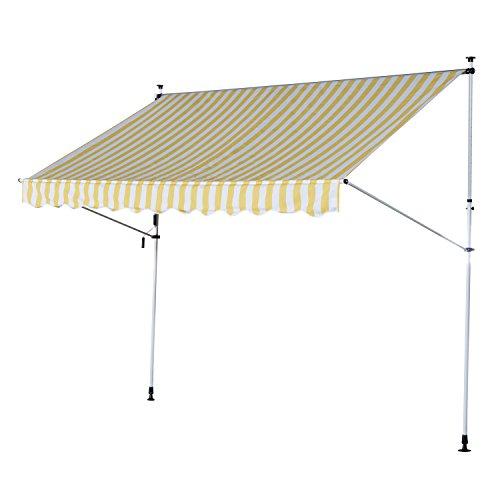 Outsunny Tenda da Sole Avvolgibile Tenda da Sole con Pali di Supporto per Esterno Poliestere, Alluminio