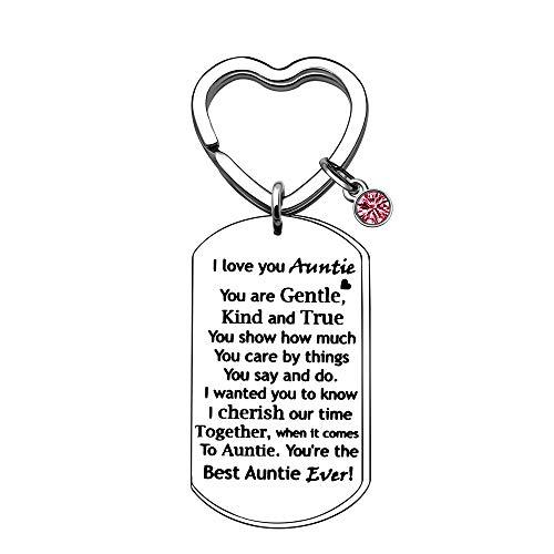 BHXRODE Auntie Keychain Rings Red Birthstone Key Chain Aunt Appreciation Love...