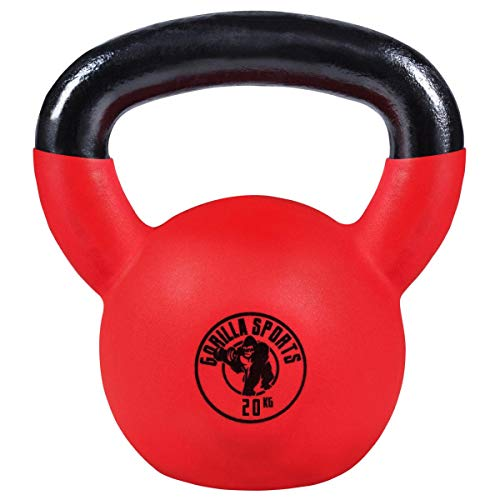 Gorilla Sports Kettlebell Red Rubber,  in Ghisa,...