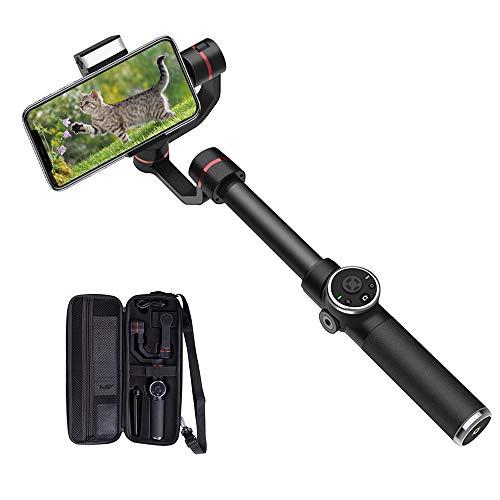 SHENGY Estabilizador de cardán de 3 Ejes, con Disparo y Enfoque, Enfoque de rostros, luz de Relleno LED de 180 °, Disparo Horizontal y Vertical, para Smartphones de Menos de 6 Pulgadas
