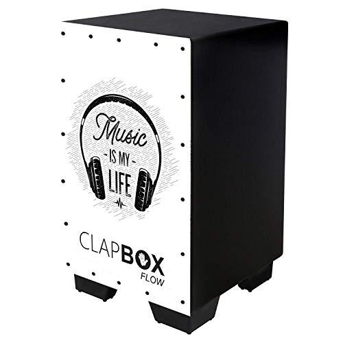 Clapbox Flow Graphic Cajon CB-FLW8, Walnut wood (H:50 W:30 L:30) - 3 Internal Snares, Black (Music is life)