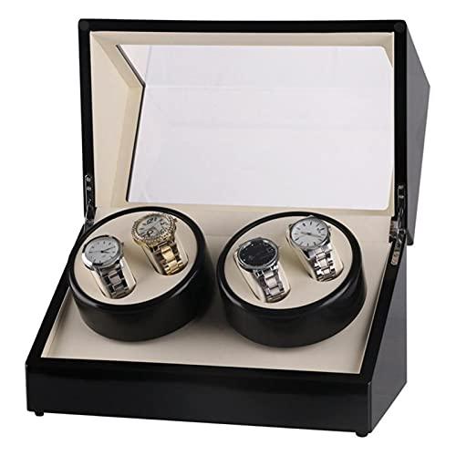JINGGL Caja giratoria para Relojes Auto Wooden Watch Winder Bander Butder Winder Case Caja Cubierta Transparente Reloj de Pulsera Caja Motor de Cabeza Doble/Doble (Color : Pink)