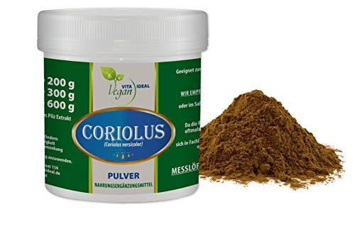 VITAIDEAL VEGAN® Coriolus Pilz Extrakt Pulver (Coriolus versicolor) 200g inklusive Messlöffel rein natürlich ohne Zusatzstoffe.