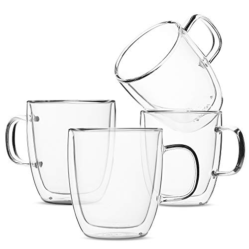 BTaT- Insulated Coffee Mugs, Glass Tea Mugs, Set of 4 (12 oz, 350 ml), Double Wall Glass Coffee Cups, Tea Cups, Latte Cups, Glass Coffee Mug, Beer Glasses, Latte Mug, Clear Mugs, Glass Cappuccino Cups