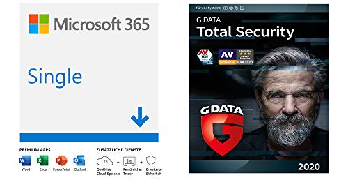 Microsoft 365 Single | 1 Nutzer | PC/Mac, Tablet und mobile Geräte | Download Code + G DATA Total Security 2020 | 1 Gerät - 1 Jahr, Download, Aktivierungscode per Email | Windows, Mac, Android, iOS