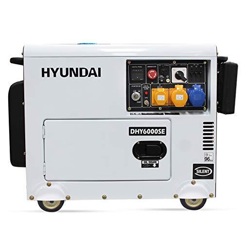 HYUNDAI HY-DHY6000SE, Generador Diesel Pro Monofásico Insonorizado, 5.2 W, 230 V, blanco/negro