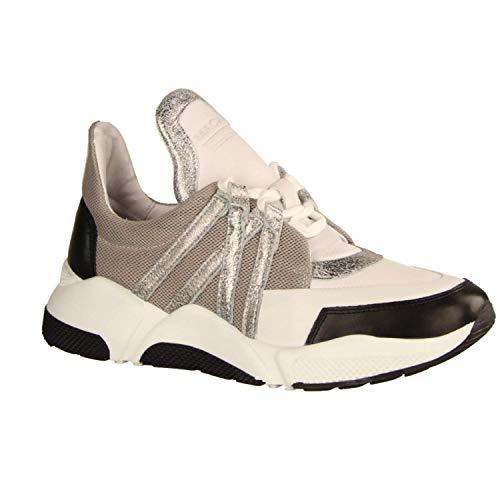 Maca Kitzbühel 2461 White Silver (weiß) - sportlicher Schnürschuh - Damenschuhe Sneaker, Weiß, Leder/Textil