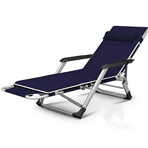 WYJW Klappbarer Liegestuhl, Metallliege Klappbarer Mittagspausenstuhl Balkon Home Freizeit Lazy Beach Büro Rückenlehne Tragbarer Stuhl (Farbe: Blau, Größe: Mit Kissen)