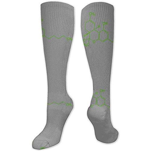 NotApplicable Sportliche Socken Thc Molecule Weed Cannabis Logo Stiefel Kompressionsstrümpfe Sport Farbenfrohe Sportstrümpfe Lange Socken Wadensocken Schlauchstrümpfe Lässige Damen 50Cm