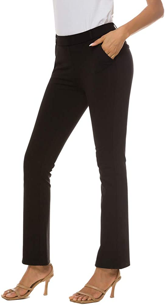 iChosy Women's Pull On Barely Bootcut Stretch Dress Pants
