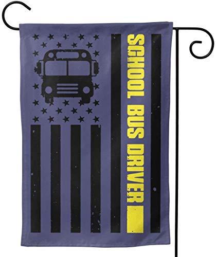 FairyLi Garden Flags School Bus Driver Amerikaanse Vlag Welkom Grote Yard Dubbele Zijde Huis Vlag Banners Voor Patio Gazon Thuis Outdoor Decor 12.5X18In 28X40In 12.5x18inch Als afbeelding