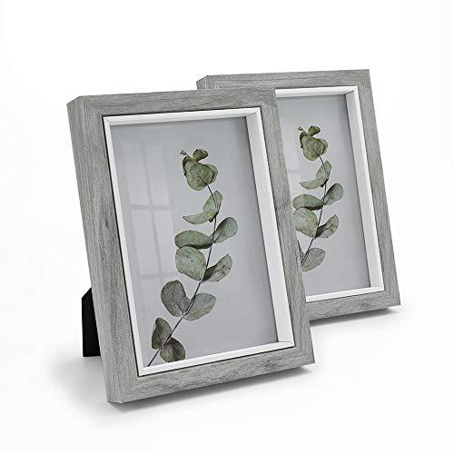 Afuly Grau Bilderrahmen 13x18 Bilderrahmen Holz Fotorahmen mit weißem Rand für Wand oder Schreibtisch Moderne Shabby