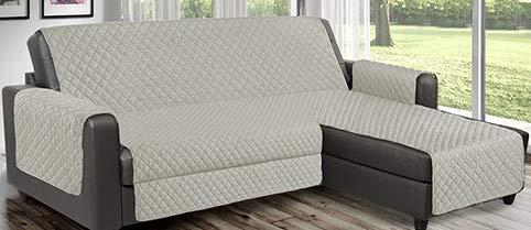 Funda de sofá reversible acolchada que se puede utilizar para sofás de esquina con chaise longue tanto a la derecha como a la izquierda, reversible PET Friendly (crema, 4 plazas 280 cm)