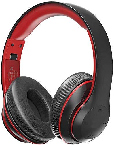 Bluetooth Kopfhörer Over Ear Headset mit On Ear Steuerung mit Dual 40-mm Treiber, 15 Stunden Spielzeit, EQ Bass, 3,5 mm AUX Sehr Tragbares Faltbares Design Bequemes Tragen, Schwarz Rot