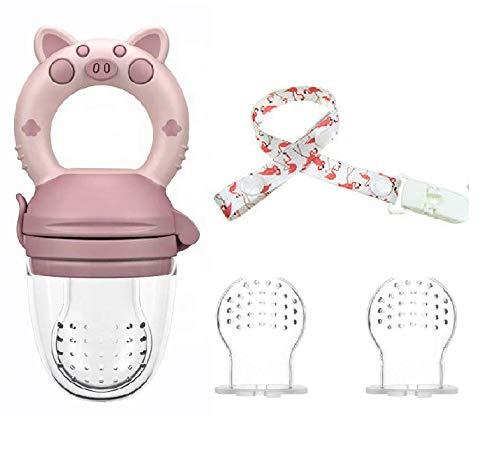 Chupón de Fruta + Clip Sujetador + 2 Repuestos para Bebe Alimentador Mordedera Varios Colores - Rosa