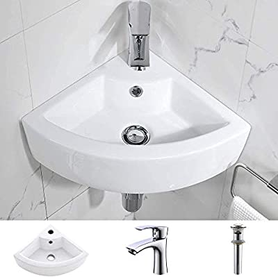Bokaiya Small Wall Mount Corner Bathroom Sink and Faucet Combo with Overflow Triangle White Porcelain Ceramic Wall Mount Mini Vanity Space Bathroom sink, Brushed Nickel Faucet and Drain Combo