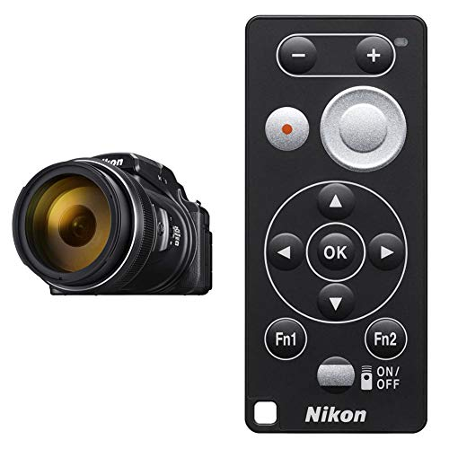 Nikon coolpix p1000 fotocamera bridge, zoom ottico 125x, video 4k/uhd, bluetooth, wi-fi, nero & ml-l7 telecomando bluetooth, nero