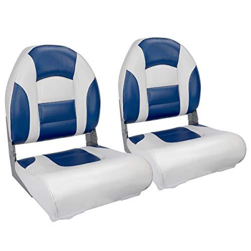NORTHCAPTAIN S1 Pro Premium High Back Folding Boat Seat(2 Seats),White/Blue