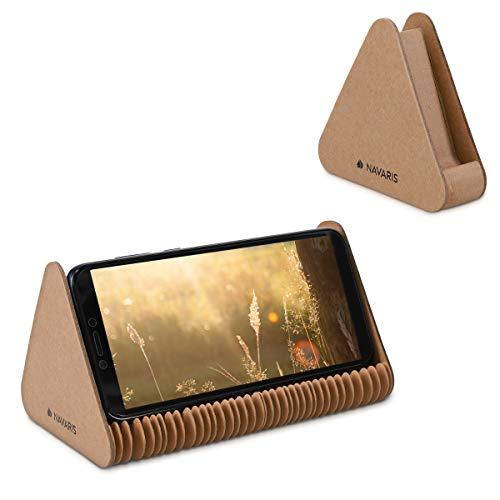 Navaris Soporte Universal de Mesa para móvil y Tableta - Base ecológica Ajustable hasta 40 CM para Smartphone - Apoyo de cartón para Dispositivos