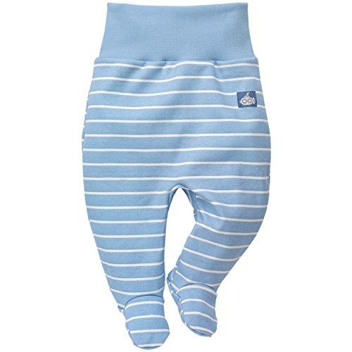 Pinokio - Sea World - Baby Hose 100% Baumwolle, blau oder hellblau gestreift - Jogginghose, Leggins, Schlafhose - elastischer Bund mit Füßchen, maritim (56, hellblau)