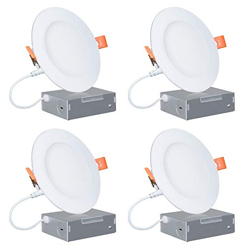 4-Inch Slim LED Recessed Lighting, Wet Location Rated 11W 750LM 3000K Soft White Dimmable 120V 65W Eqv. ETL and Energy Star Certified Retrofit Can-Killer Downlights with Junction Box, 4 Pack