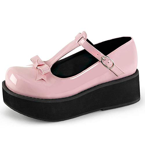 CELNEPHO Mary Jane - Zapatos para mujer, diseño de lazo dulce, punta redonda, con correa en T, con plataforma Lolita gótica, zapatos Oxfords, (B-black Patent Leather)