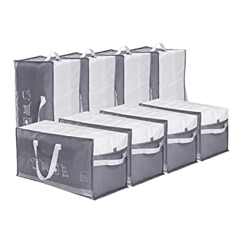 ATBAY Moving Tote Bags Extra Large Reusable Organizer Storage Bags with Zipper and Strong Handles for Clothes/Shoes/Blanket 8PACK Gray