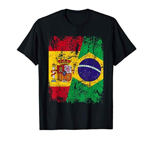 BRASIL Camiseta ESPAÑA BANDERA de la AMISTAD BRASIL Camiseta