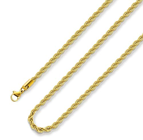 2.5MM Rope Chain Necklace Stainless Steel Twist Rope Chain Necklace for Men Women 18 Inches 18K Real Gold Plated