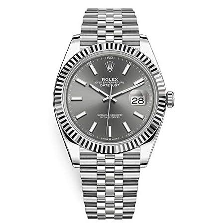 Fashion Shopping Men's Rolex Datejust 41 Dark Rhodium Dial Stainless Steel Watch on Jubilee Bracelet