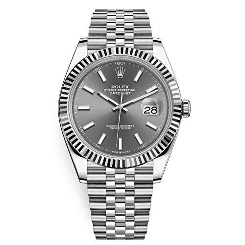 Rolex Datejust 41 Reloj de pulsera de acero inoxidable con esfera de rodio oscuro para hombre