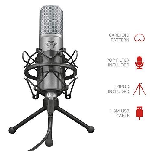 Trust Gaming Streaming Mikrofon für PC, PS4 und PS5 - schwarz