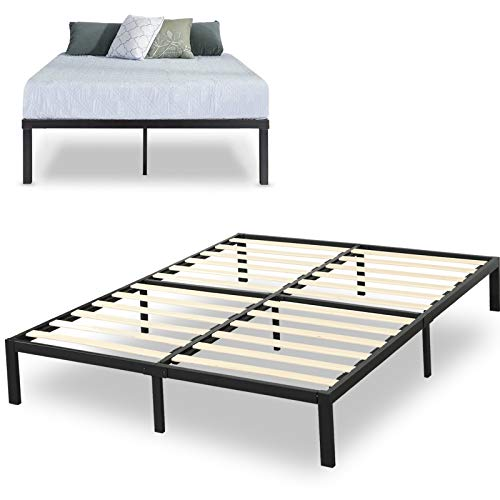 SAMERY 14 Inch Metal Platform Bed Frame / Mattress Foundation / No Box Spring Needed / Heavy Duty Steel & Wooden Slat Support /Anti-Slip Support/ Easy Assembly/, Metal Queen Bed Frame (Queen, Black)