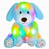 Houwsbaby Light up Puppy Stuffed Animal Dog Floppy LED Plush Toy pup Night Lights Glow Pillow Birthday Gifts for Kids Toddler Girls, Blue, 9''