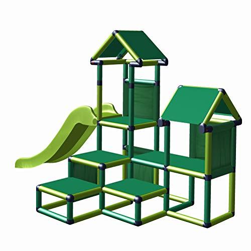 move and stic Spielturm Kletterturm Gesa mit Rutsche für Kleinkinder mit Kriechtunnel Mas (grün apfelgrün)