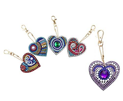SuperDecor DIY Diamond Painting Keychain 5D Mosaic Making Full Drill Special Shape Diamond Painting Pendant for Art Craft Key Ring Phone Charm Bag Decor, Love Heart