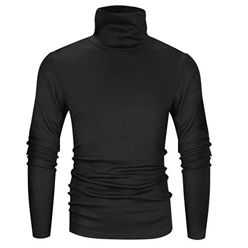 Derminpro Men's Thermal Turtleneck Soft Long Sleeve T-Shirt Black XX-Large