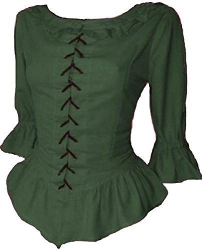Dark Dreams Gothic Mittelalter LARP Bluse Laura, Größe:M;Farbe:grün