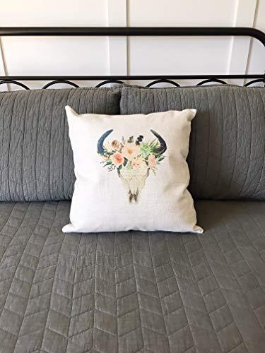Ad4ssdu4 Boho cráneo decoración almohada Western Boho cojín rústico de flores y cráneo decoración rústica dormitorio decoración cojín